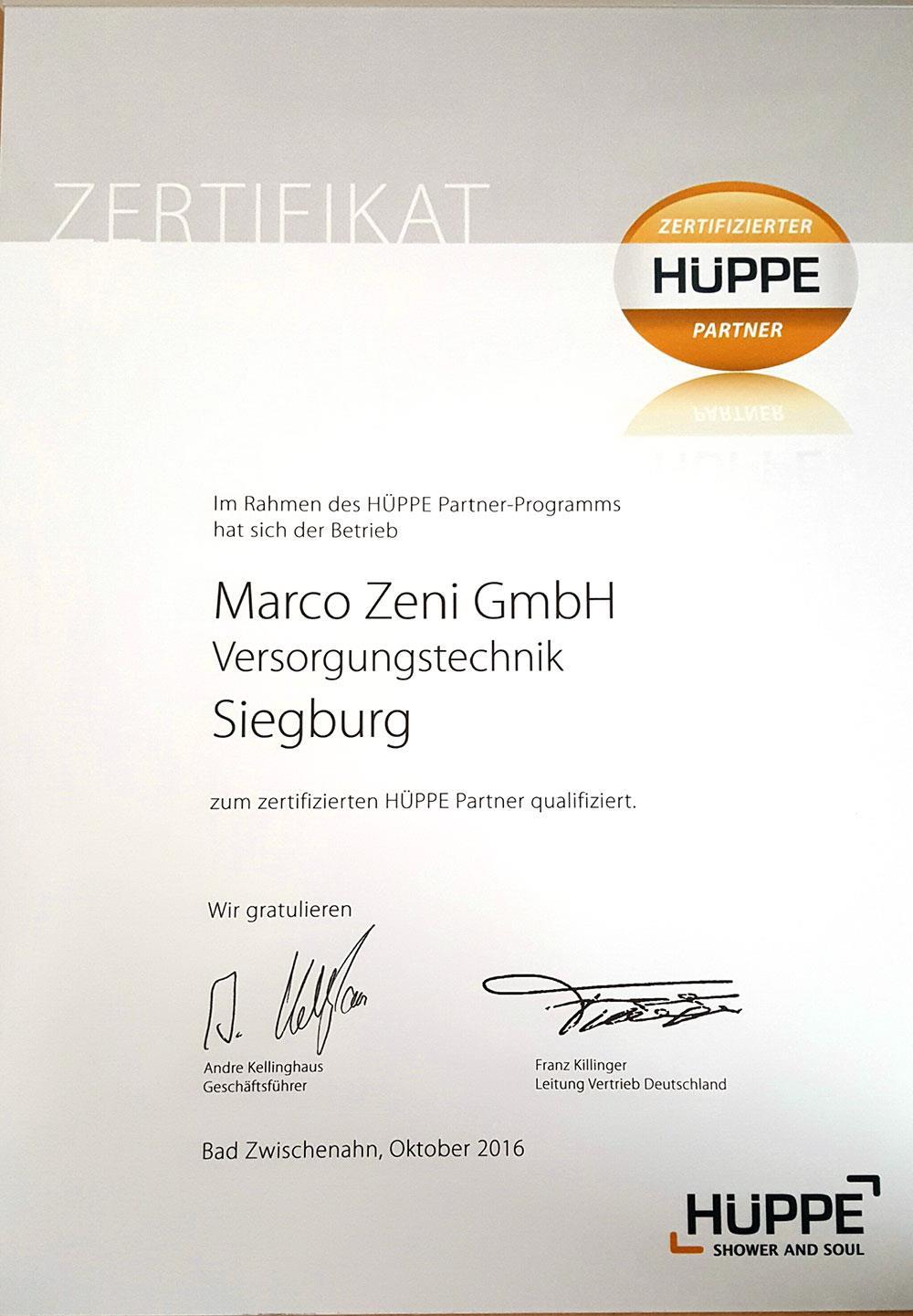 Partner – Marco Zeni Versorgungstechnik GmbH aus Siegburg